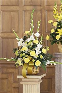 White, Yellow & Green Basket by The Foliage Shoppe