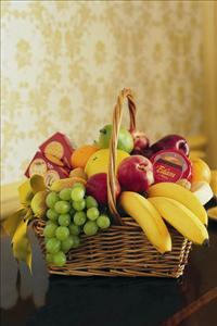 Cheese, Crackers & Fruit Basket by The Foliage Shoppe