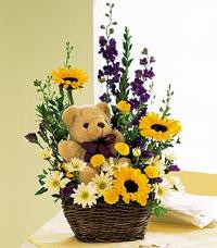 Flowers with a Plush Bear by The Foliage Shoppe