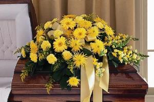 All-Yellow Casket Spray by The Foliage Shoppe